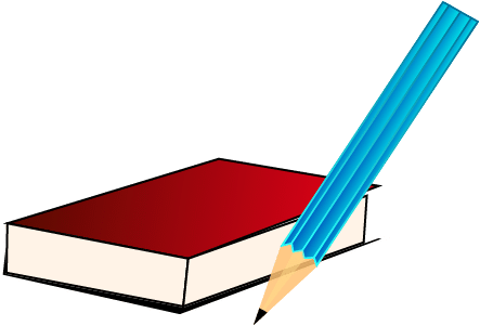 book and pencil clipart
