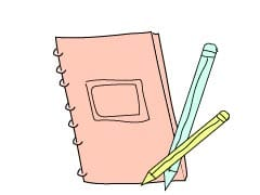 notebook and pencil clipart