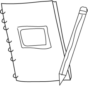 note book pencil clipart black and white