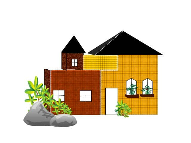 yellow old house clipart