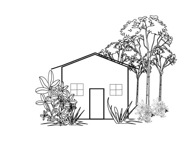 simple black and white house clipart