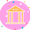 bank icon pink vector