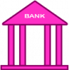 pink bank icon vector