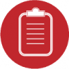 clipboard icon red