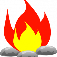 fire clipart with rock
