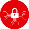 red cyber security icon